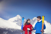 Photo Couple skiing in winter nature