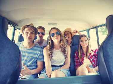 Beautiful young people a on road trip