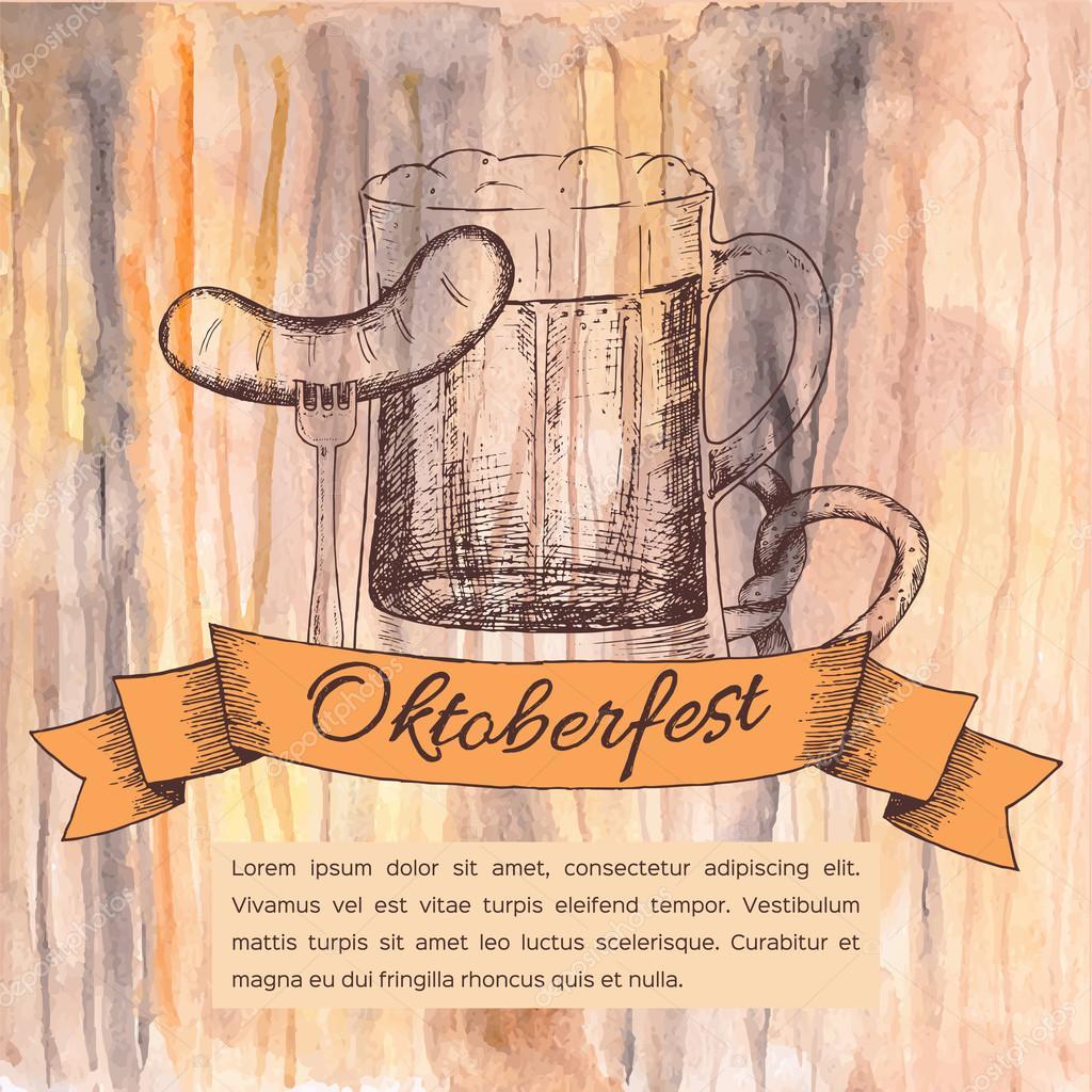 Зайцем, открытка с октоберфест
