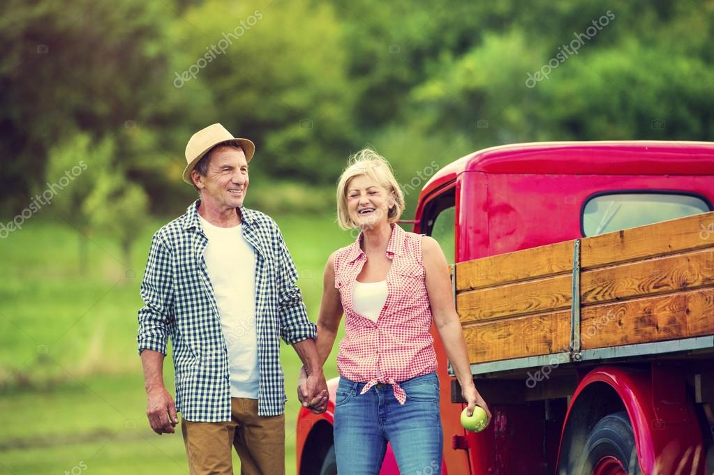 Couple with red truck