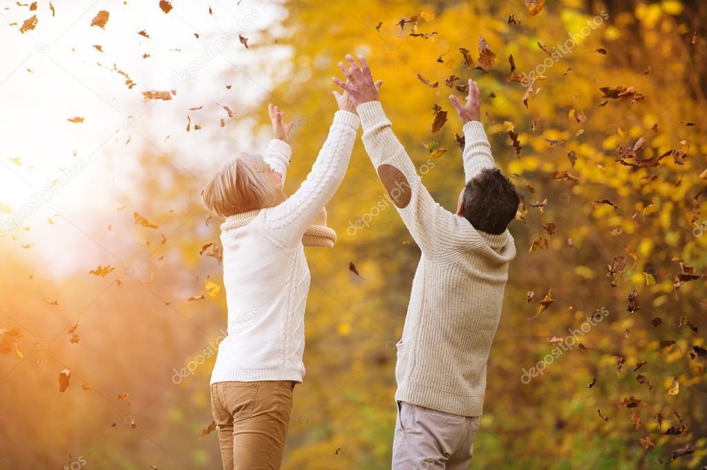 senior couple having fun in autumn