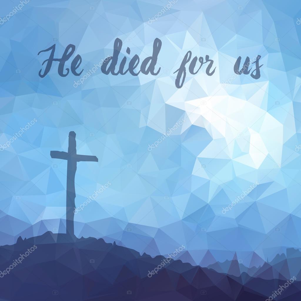 cena de páscoa com cruz jesus cristo desenho vetorial poligonal
