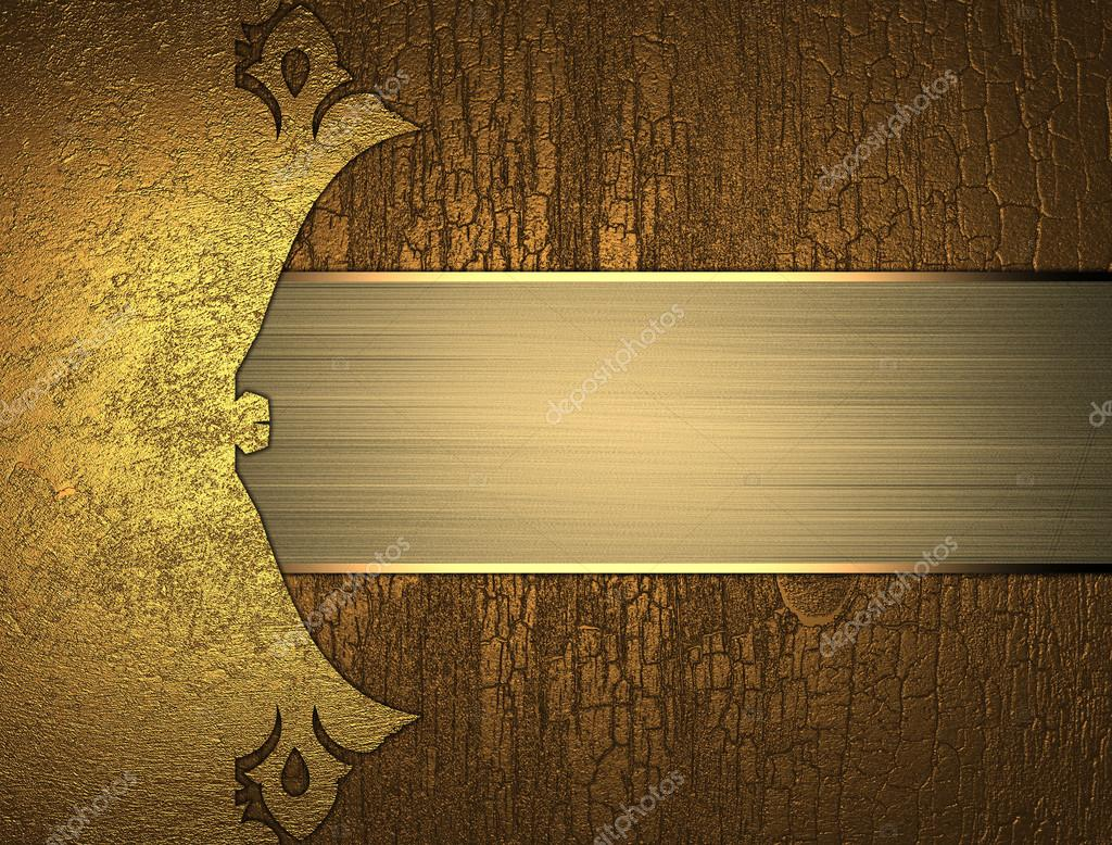 grunge wood background with a gold plate. element for design