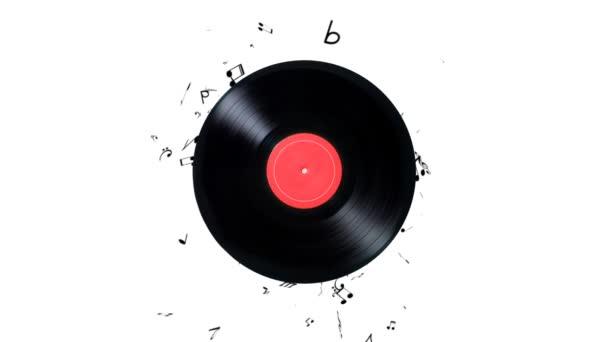 Disco in vinile con un sacco di note. Riproduzione di musica in vinile
