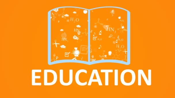 Open books and icons of science and education. The concept of modern education