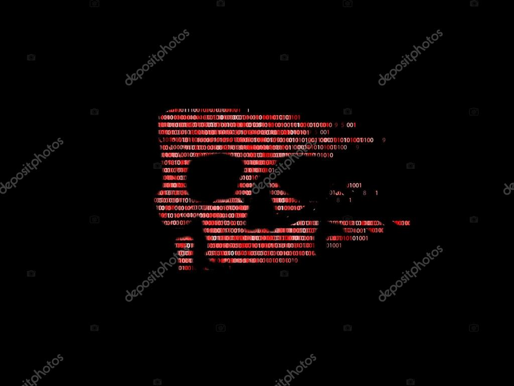 Security Concept Skull Of Binary Code Piracy On The Internet
