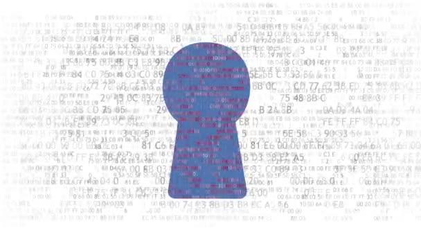 Concetto di sicurezza: hex codice e codice binario nel buco della serratura. Cybersecurity