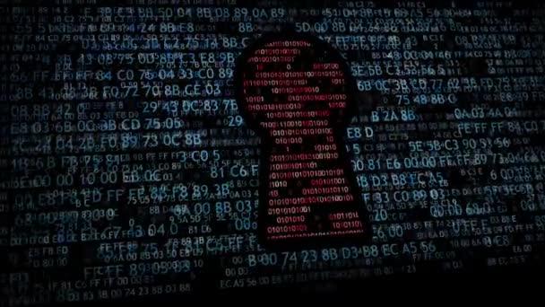 Biztonsági koncepció: hex kód és bináris kód a kulcslyuk. CyberSecurity