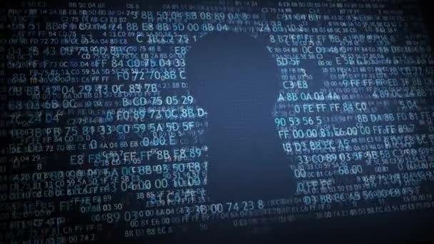 Bezpečnostní koncepce: pixelated štít s dírkou ikonou na digitálních pozadí. Visací zámek cyber bezpečnostní koncepce