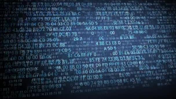 Hexadecimální kód běží obrazovce počítače. Modré číslice