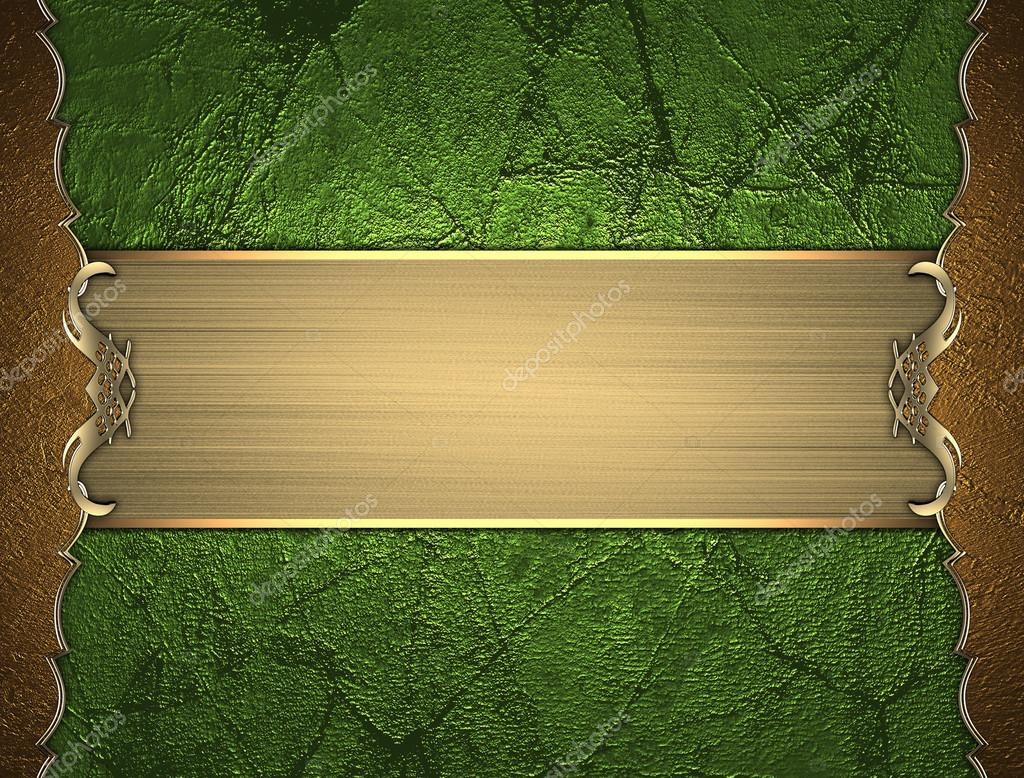 Template Gold Frame On Green Background With Gold Ribbon Design