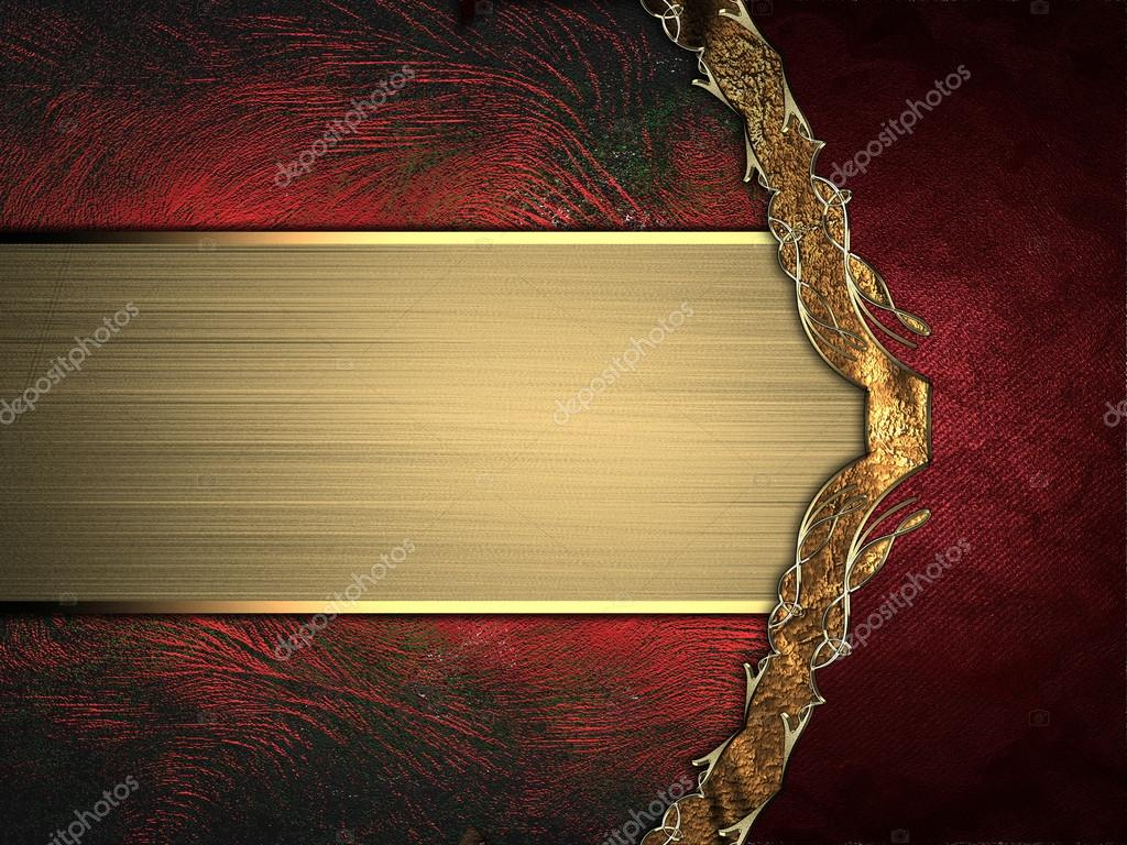 Abstract red background with gold ribbon and gold border for Red with gold
