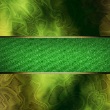 Abstract green background with green nameplate with gold trim