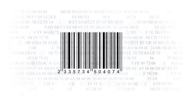 Barcode scanner by barcode reader on white background. Closeup on array of digits. chaos digits. Animating background hexadecimal code
