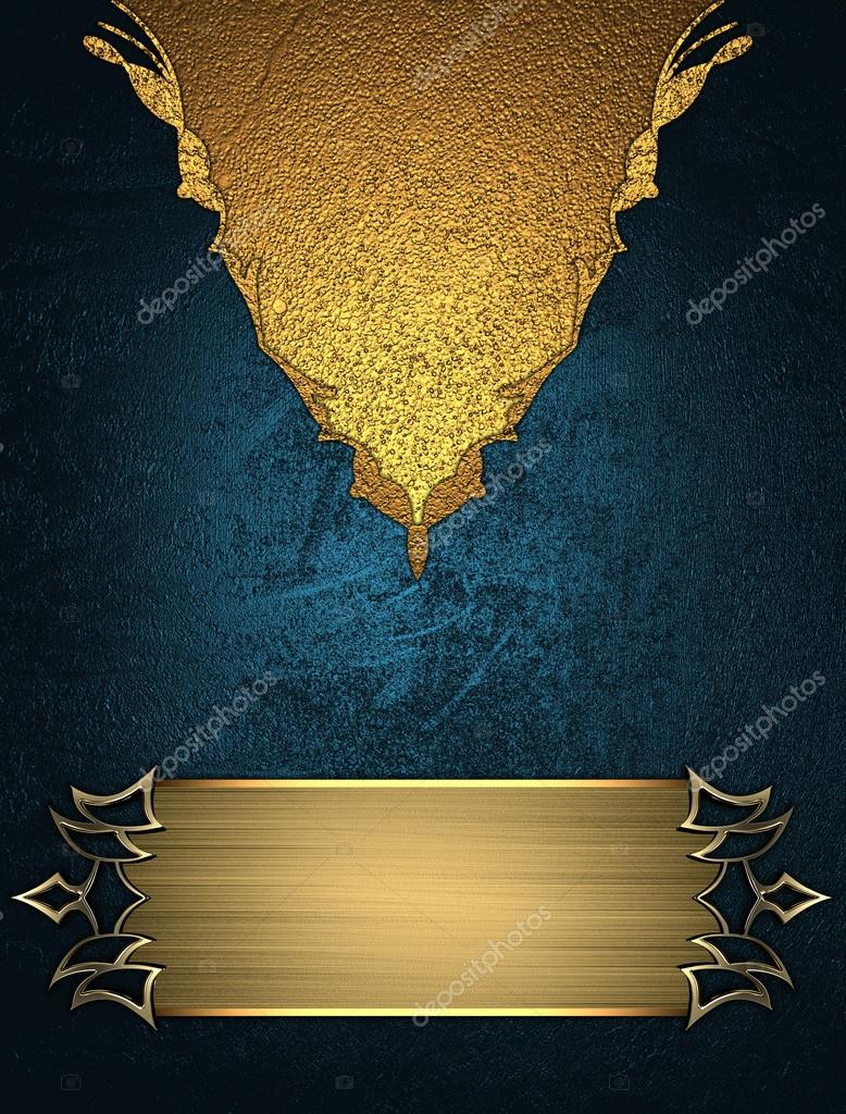 blue background with gold ornaments with gold plate template for