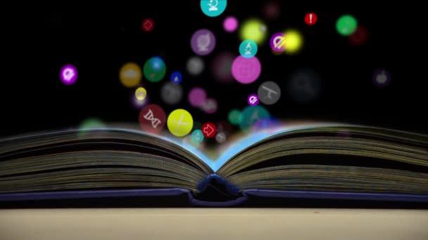 Otevřené knihy a ikony vědy. Koncept moderního vzdělávání