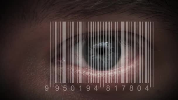 Human eye with integrated barcode in it. cyborg
