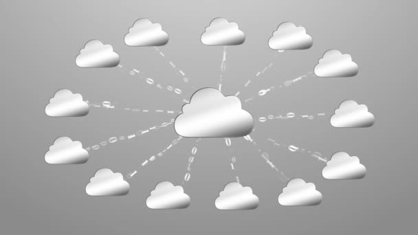 Cloud computingu, vyrobené s konceptem binárního kódu. Tok informací do oblak