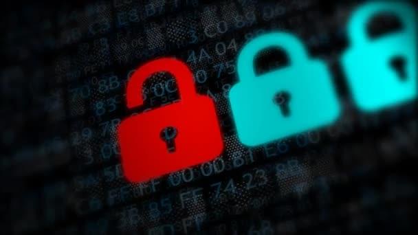 Internet security koncept otevřené červené visací zámek virus nebo nezabezpečenou s hrozbou hacking