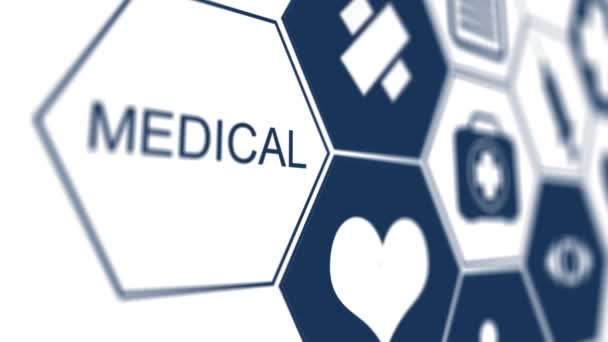 moderne Computerschnittstelle als medizinisches Konzept. Tabelle der medizinischen Symbole