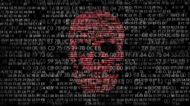 Koncepce zabezpečení počítače. Lebka kód v šestnáctkové soustavě. Pirátská online. Internetoví podvodníci. Hackeři rozluštil kód
