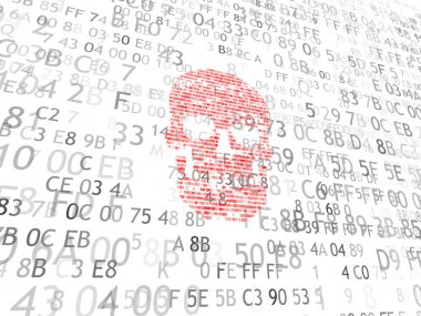 Concept of computer security. The skull of the hexadecimal code. Pirate online. Cyber criminals. Hackers cracked the code