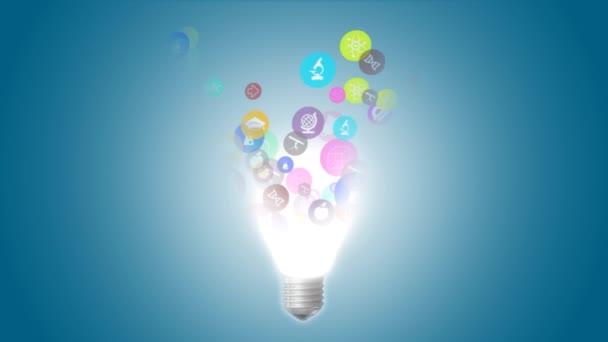 Konceptuální obraz elektrické žárovky s náčrtky vzdělávání