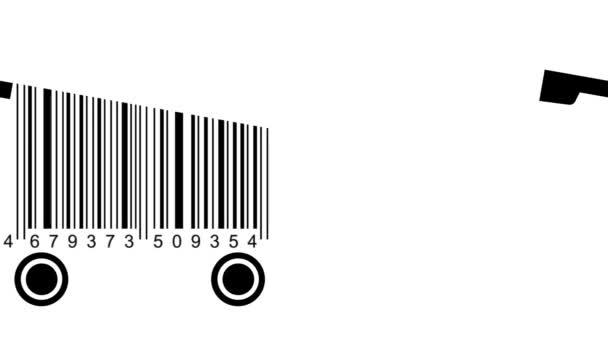 nákupní vozíky vyrobené z čárového kódu. koncept nakupování
