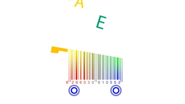 Shopping carts made from barcode - sale, words  Alphabet concept of  education