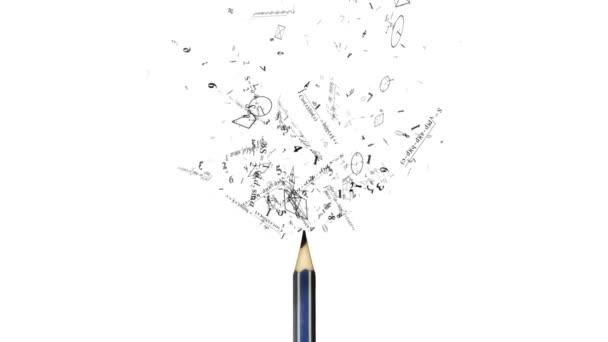 mathematische Formeln, die vom Bleistift fliegen. Zahlen, mathematische Formel, Geometrie