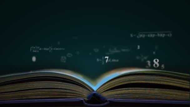 matek fizika könyvet képletek. számítógéppel generált loopable mozgás háttérrel. Progresszív HD 1080