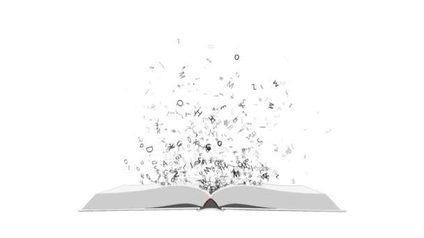 Mnoho písmen odlétající z otevřené knihy