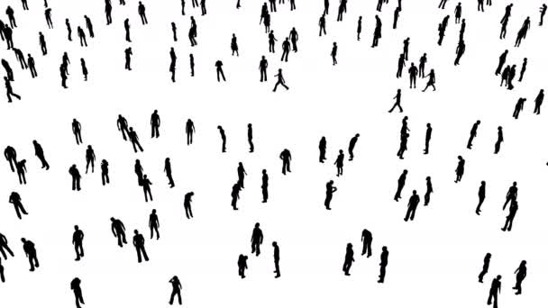 Crowd People Idle and Walking 3D Animation Silhouette 4K resolution White Background