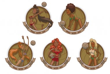 Set of emblems with Volleyball players girls