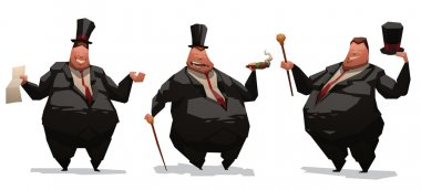Set of fat businessmen