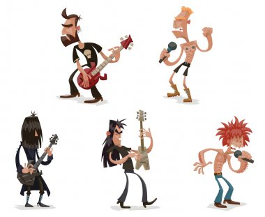 Set of rock musicians