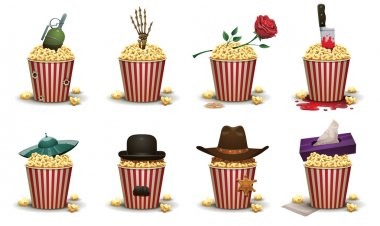Set of popcorn baskets with different elements movies