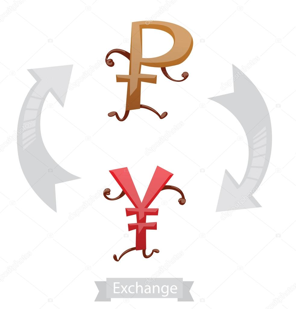 Finance Icons Currency Symbols Running Ruble Yen