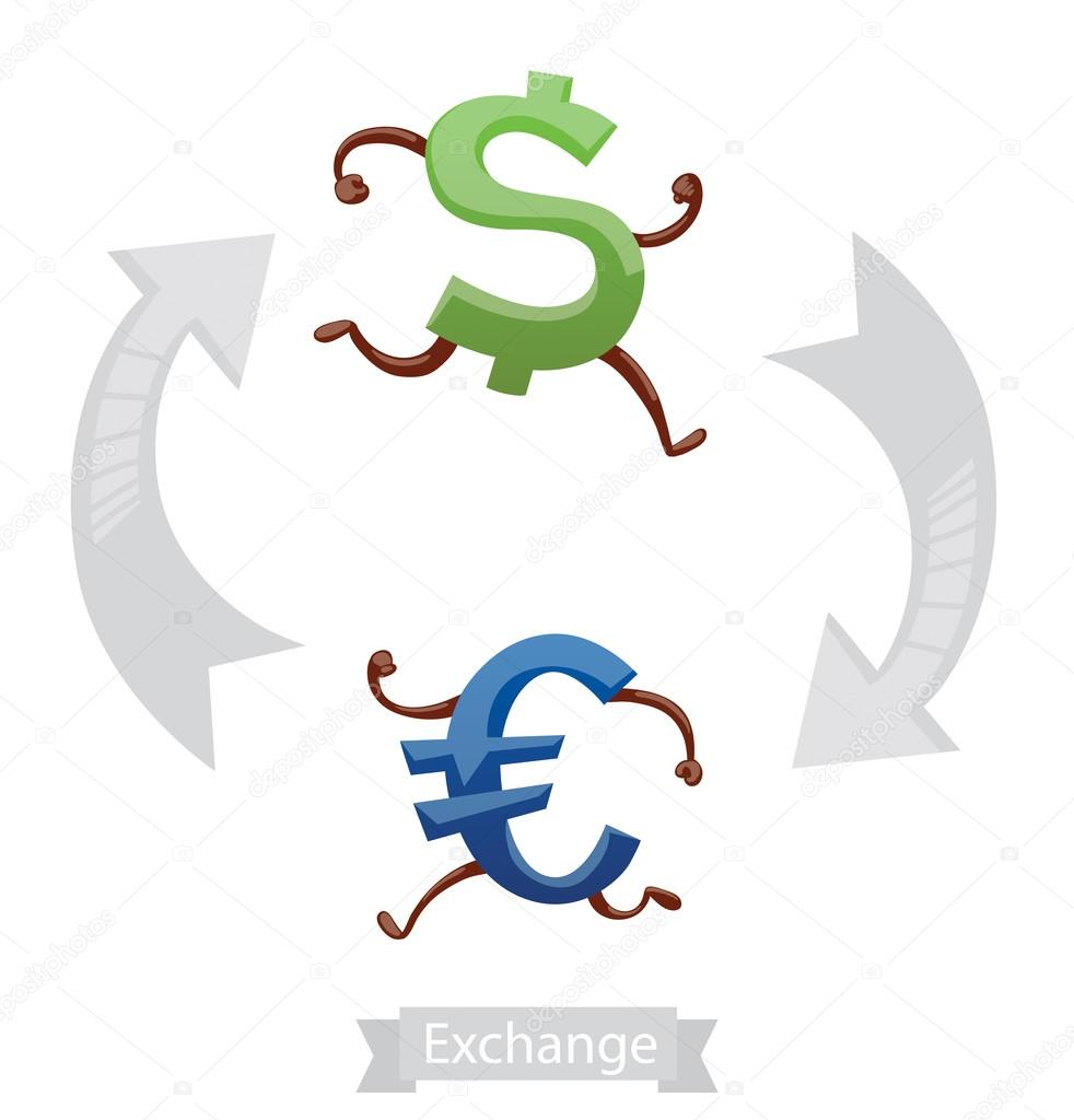 Finance Icons Currency Symbols Running Dollar Euro