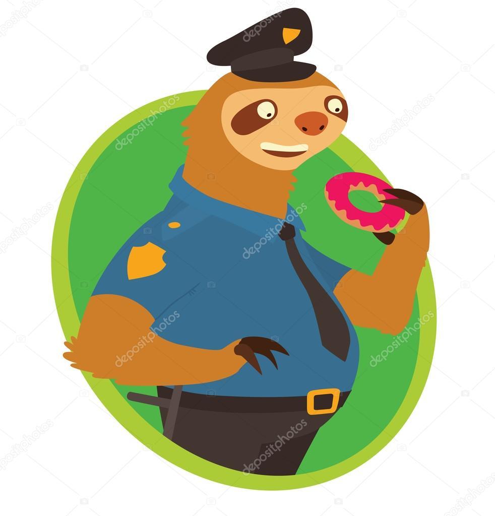 Marco verde plana oval, lindo perezoso - oficial de policía — Vector ...