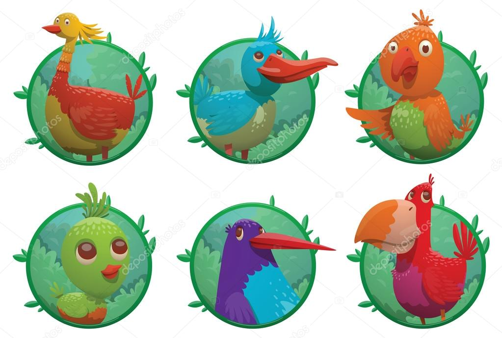 Set of frames with bright colored tropical birds — Vector de stock ...