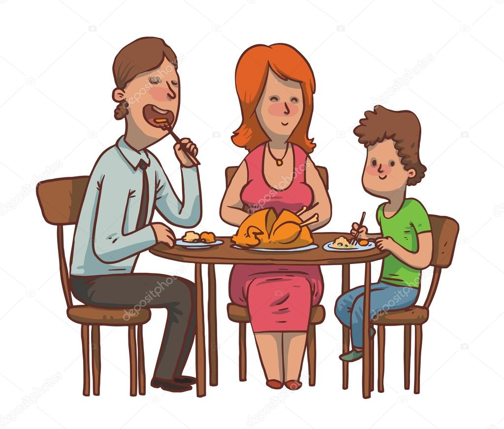 Eating Table Cartoon: Family Dinner: Father, Mother And Son Eat Fried Chicken