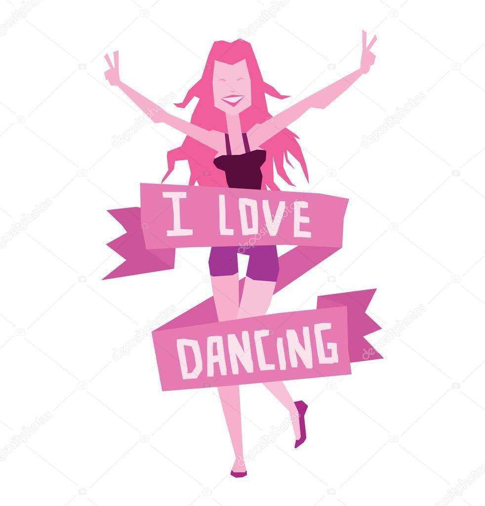"Download Emblem ""I love dancing"", dancing girl with long pink hair ..."