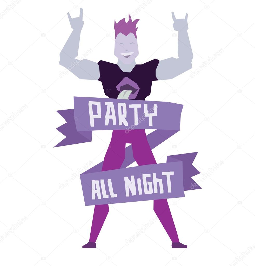 "Emblem ""Party all night"", dancing man with purple hair ..."