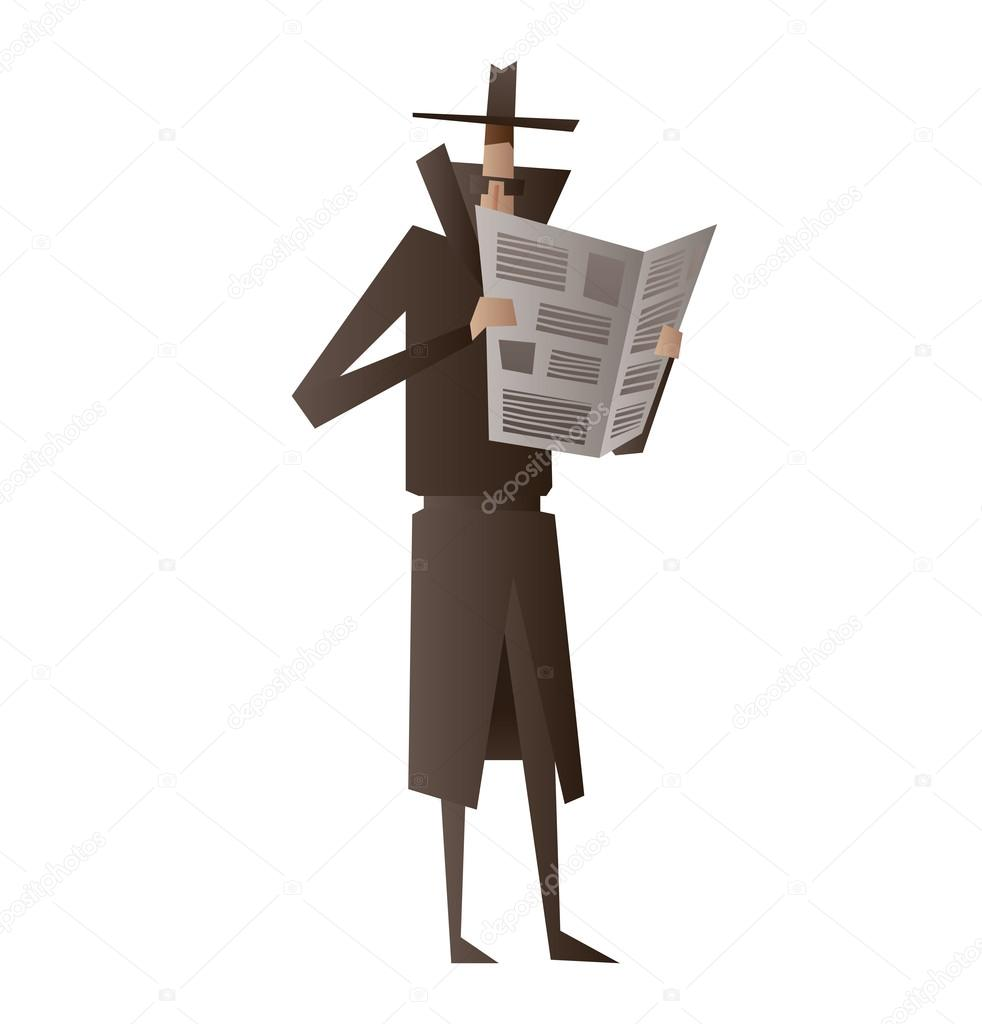spy hiding behind a newspaper and spying vetores de stock