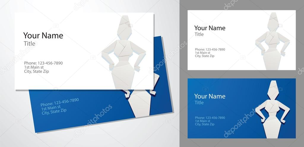 Business cards, origami business woman — Stock Vector ...