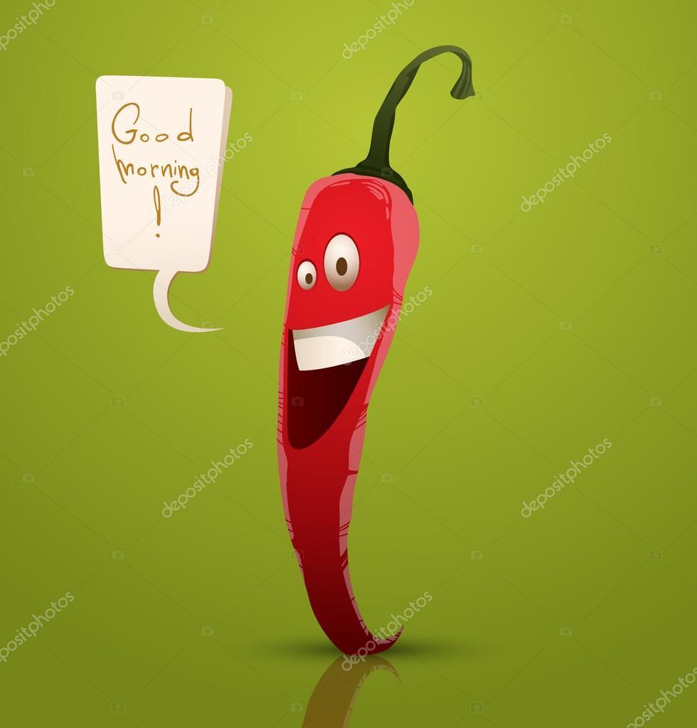 Vector de dibujos animados alegre feliz pimiento rojo sobre un fondo verde  con burbujas de discurso. Texto escrito a mano en las curvas - pimiento  feliz ... e729c11b15c