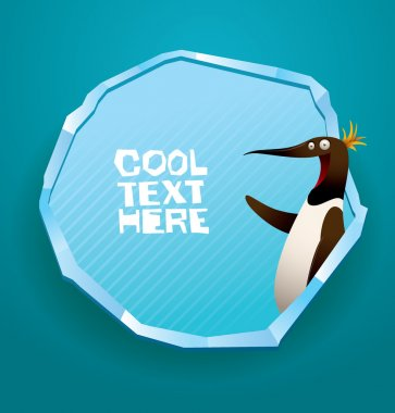 Funny penguin smiling banner