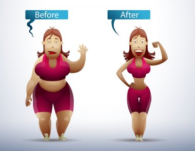 Woman before and after