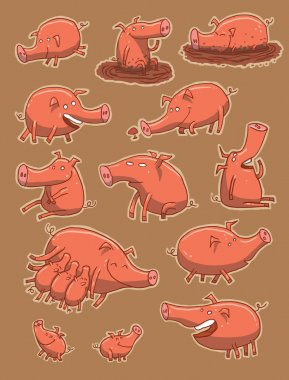 Set funny pigs